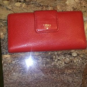 """Fossil red leather wallet 3.5""""X6.75""""X1"""""""